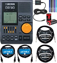 BOSS DB-90 Dr. Beat Electronic Metronome Bundle with 2 9V Alkaline Batteries, Blucoil 9V AC Adapter, 2-Pack of 10-FT Mono Instrument Cables, 2-Pack of 5-FT MIDI Cables, and 5x Cable Ties
