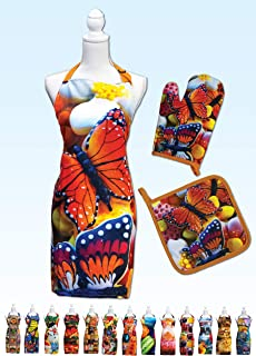 Springbok Butterfly Cookies Adjustable Kitchen Apron, Oven Mitt and Pot Holder Set