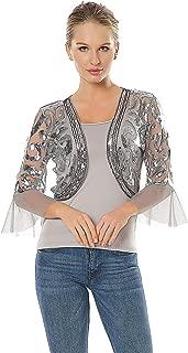 Women's Sequin Shrug Bolero Glitter Open Front Cardigan 2/3 Sleeve Cropped Jacket