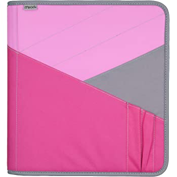 """Mead Zipper Binder with Expanding File, 3 Ring Binder, 1-1/2"""", Pink (72200)"""