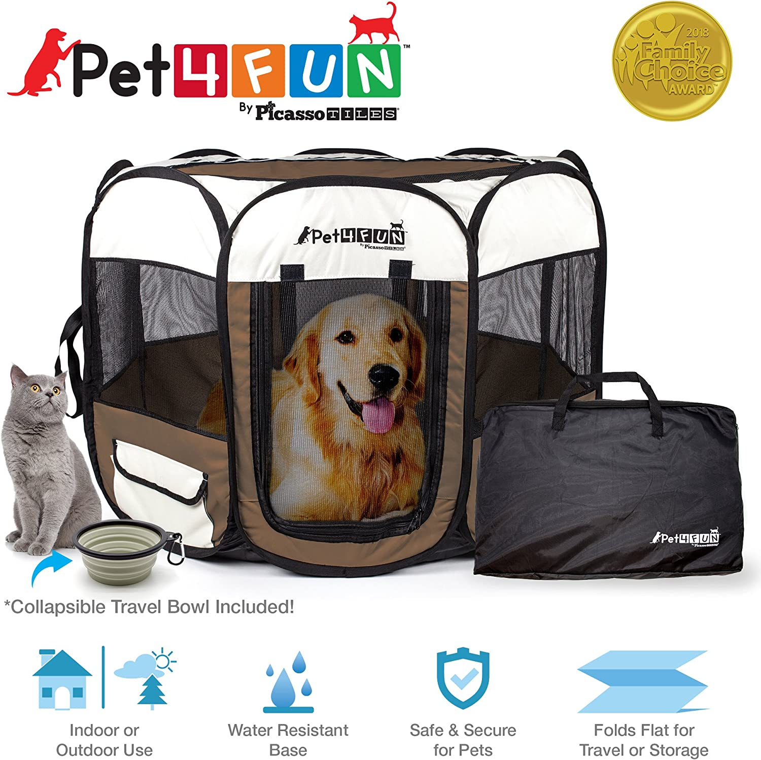 PET4FUN¨ PN945 Medium 43  Portable Pet Puppy Dog Cat Animal Playpen Yard Crates Kennel w  Premium 600D Oxford Cloth, ToolFree Setup, Carry Bag, Removable Security Mesh Cover Shade, 2 Storage Pockets  BROWN
