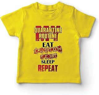 lepni.me Kids T-Shirt Quarantine Routine Eat Sleep Repeat Custom Social Distance