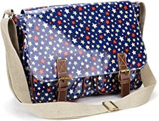 Anladia Oilcloth polka Dot Satchel A4 Folder Size Cross Body Messenger Handbag
