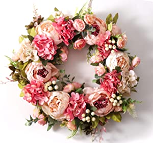 Peony Wreath for Front Door Outside Rose Wreaths Full 16 Inch Handmade Spring Wreaths Summer Wreaths Fall Wreaths Winter Wreaths for Front Door Wall Window Decor