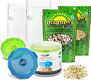 Masontops Complete Bean Sprouting Kit - 2 Mason Jars, 2 Bean Screen Sprouting Lids & 2 Sprout Seed Mixes - Wide Mouth