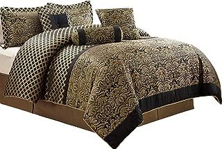 Chezmoi Collection Lisbon 7-Piece Jacquard Floral Comforter Set, King, Black/Gold