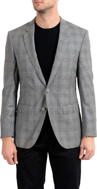 Hugo Boss T-Heel1 Men's 100% Wool Two Button Blazer Sport Coat US 36R IT 46R Gray