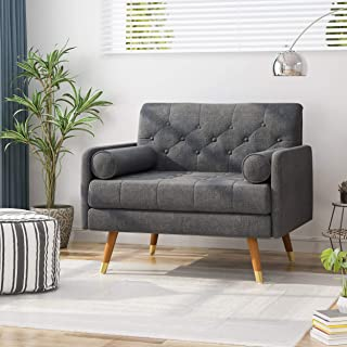 Christopher Knight Home Nour Fabric Mid-Century Modern Club Chair, Dark Gray, Natural