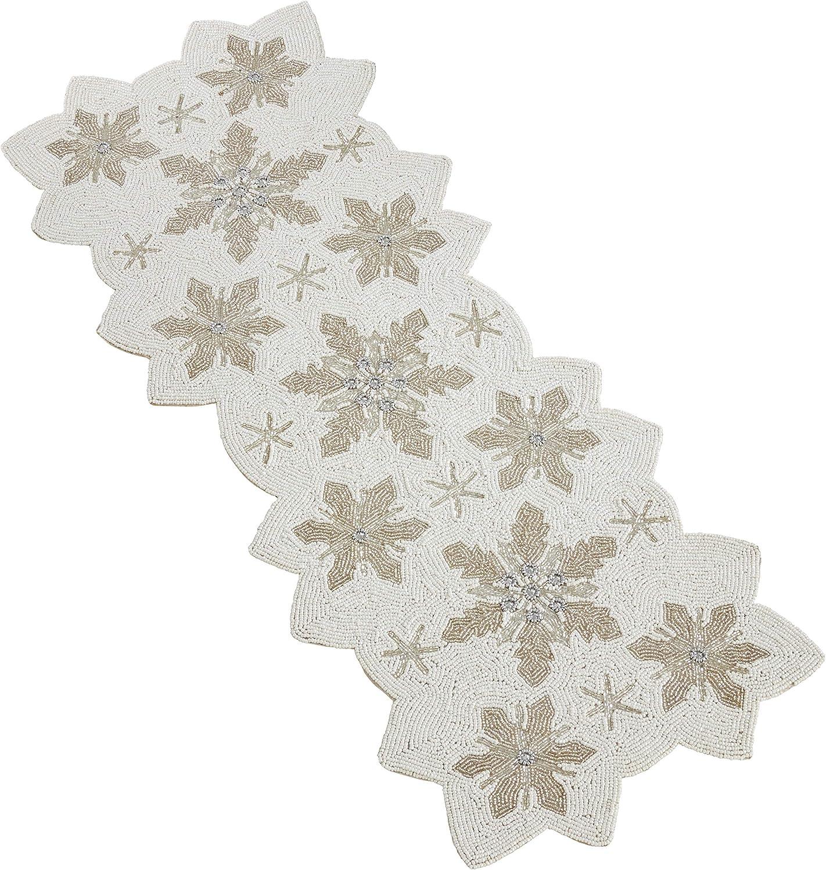 "St 36/"" x 13/"" NWT Glass Beaded Snowflake Table Runner Nicholas Square"