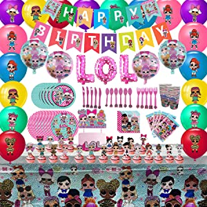 LOL Birthday Party Supplies Set - L.O.L. Decorations,10-Kids Girls LOL Theme Party includes Birthday Banner, Tablecover, Plates, Forks, Spoons, Knives, Cups, Napkins, Gift Bags, Cake Toppers, Balloons For Kids L.O.L. Party Supplies
