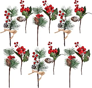 Gift Boutique 12 Red Berry and Pine Cone Christmas Picks with Holly Branches for Holiday Decorations Great Addition to Any Christmas Decor, Crafts, Wreath, Garland or Tree