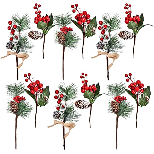 Gift Boutique 12 Red Berry and Pine Cone Christmas Picks with Holly  Branches for Holiday Decorations - Christmas Holly Decorations: Amazon.com