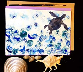 Multipurpose Greeting Cards, Turtle in the Sea, Self Design, All painted by hands, Acrylic Original Art on Light-Yellow Hard paper, None is the same, size A5-8.2