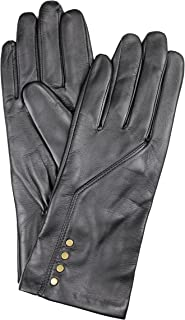 Dents Women's Leather Gloves With Press Stud Detail And Fine Fleece Lining