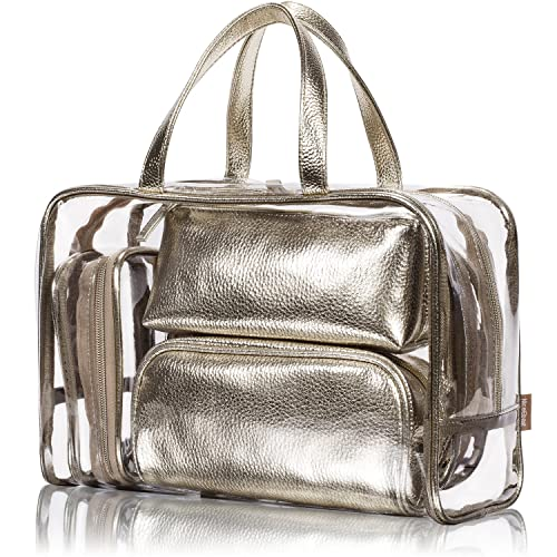 6e01b1e7b43c NiceEbag 5 in 1 Cosmetic Bag & Case Portable Carry on Travel Toiletry Bag  Clear PVC