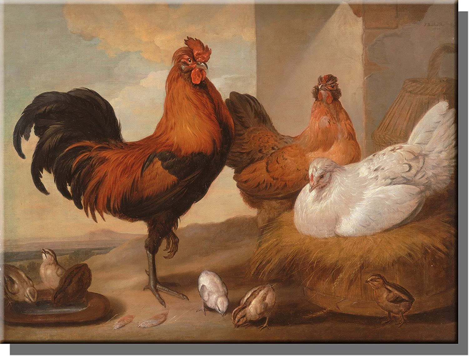 Rooster Home Decor Rooster Trio Canvas Wall Art Print