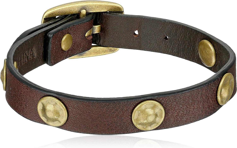 Frye Unisex Dark Brown Stud Soft Vintage Leather Wrap Cuff Bracelet, 13.25