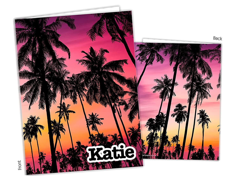 Sunset Palm Trees Pocket Overseas parallel import regular item Folder Bombing new work Gift Supplie School Name Back to