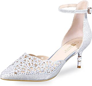 d9859cc509 IDIFU Women's IN2 Candice Rhinestones Sequins Mid Heels Stiletto Kitten  Heels Wedding Pump Bridal Shoes