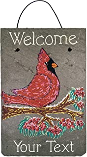 Cohas Personalized Welcome Sign on 8 by 12 inch Slate Board with Hand-Painted Cardinal on Branch and Custom Text