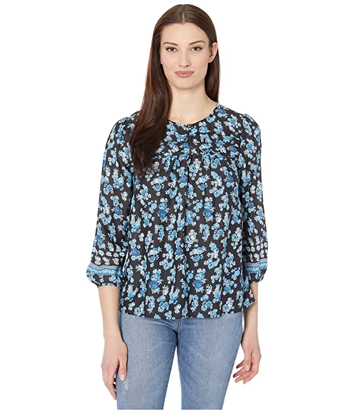 Lucky Brand  3/4 Sleeve Crew Neck Printed Alexis Popover Top (Black Multi) Womens Clothing