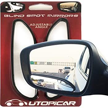 Blind Spot Mirrors. long design Car Mirror for blind side by Utopicar for traffic safety. Door mirrors for great rear view! (2 pack)