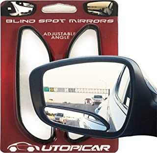 Blind Spot Mirrors. long design Car Mirror for blind side by Utopicar for traffic safety. Door mirrors for great rear view! [stick-on] (2 pack)