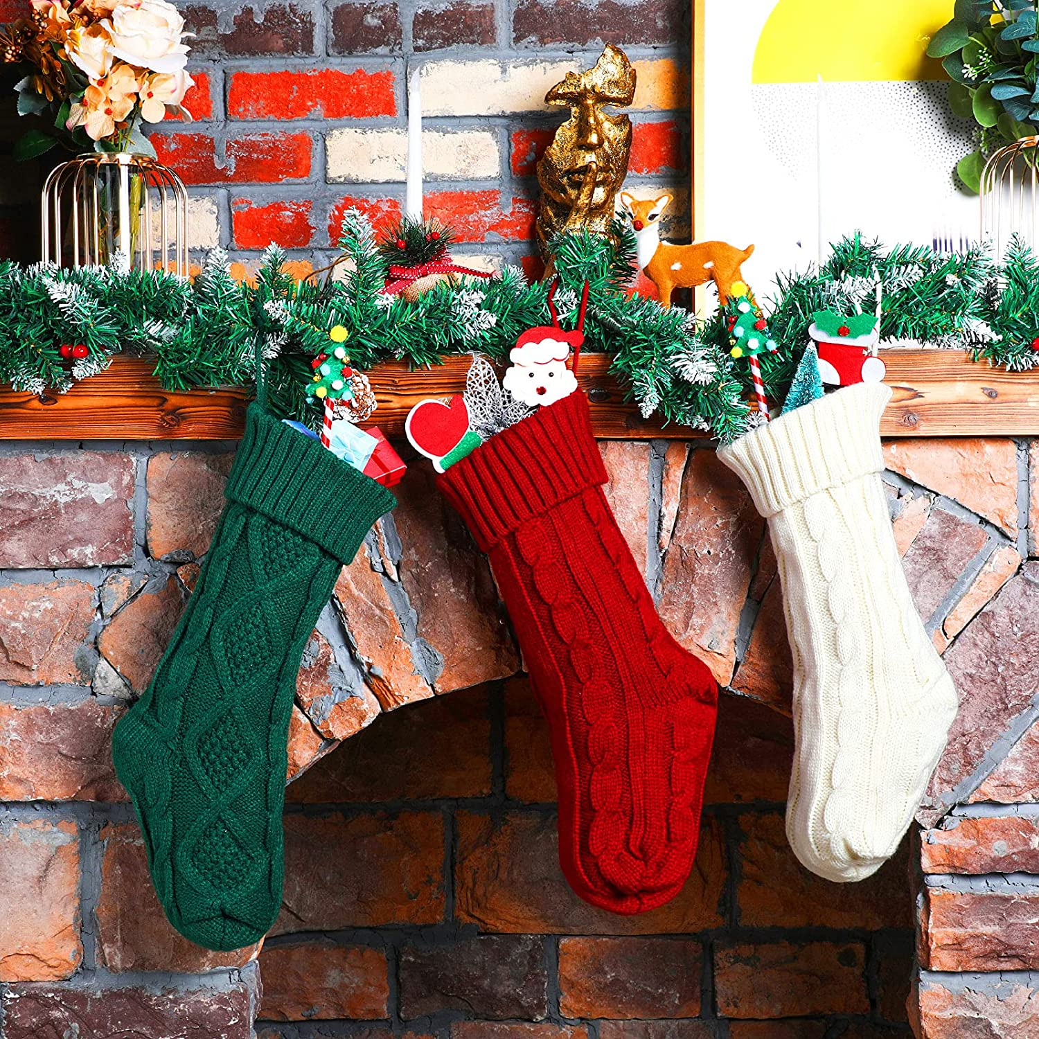 9 Pieces 18 Inch Online limited product Christmas Knitted Classic Regular discount Stockings R