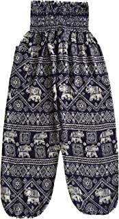 Love Quality Baggy Printed Elephant Print Hippie Yoga Pants (Navy)