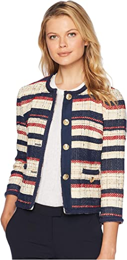 Cotton Striped Jacquard Collarless with Braided Trim Jacket
