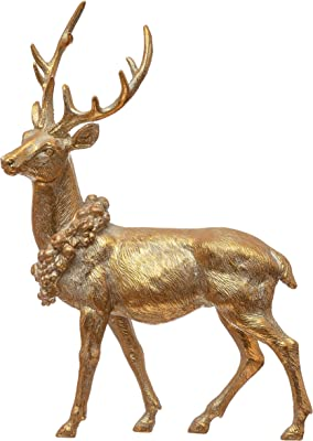 """Creative Co-Op 6-1/4""""L x 2-1/2""""W x 8-1/2""""H Resin Standing Deer w/Wreath, Gold Finish Figures and Figurines, Multi"""