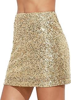 Verdusa Women's Above Knee Sequin Sparkle Mini Skirt