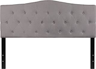 Flash Furniture Cambridge Tufted Upholstered Queen Size Headboard in Light Gray Fabric