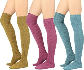 STYLEGAGA Winter Cozy Cable Knit Over The Knee High Boot Socks