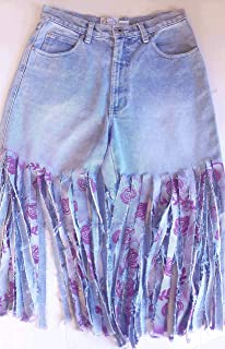 Vintage Carolina Blues Hippie Magenta Floral Fray Denim Jean Shorts Size 8 Upcycled
