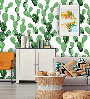 Removable Peel 'n Stick Wallpaper, Self-Adhesive Accent Wall Mural, Tropical Pattern, Nursery Room Decor, Custom Colors • Watercolor Cactus (24