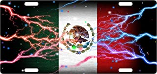 Fast Service Designs Mexico Flag Custom License Plate Mexican Emblem Thunder Version