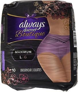 10 Count (1 Package) Large, Always Discreet Boutique Incontinence Underwear Maximum, Mauve