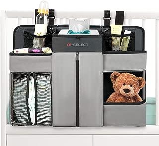 Baby Nursery Diaper Organizer - Hanging Caddy Accessory Organizer for Baby Crib, Playard, Changing Table (Grey)