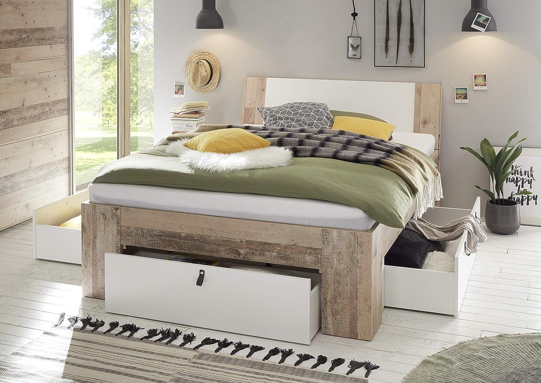 DEINE TANTE EMMA 22-190-V0 Cardiff Old Style Eiche hell wei Bett Jugendbett Einzelbett Gstebett Doppelbett & Schubladen 140 x 200 cm inkl. Rost & Matratze