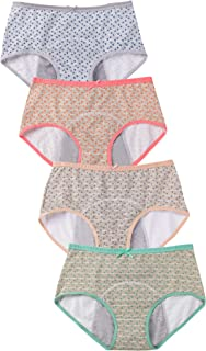 Hellove 4 Pack Underwear Women's Cotton Floral Period Panties Leakproof Protective Brief