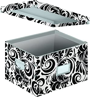 Snap-N-Store Letter and Legal Size File Box, Interior Dimensions 9.5 x 14.75 x 12.25 Inches, Black and White Scroll Design (SNS01835)