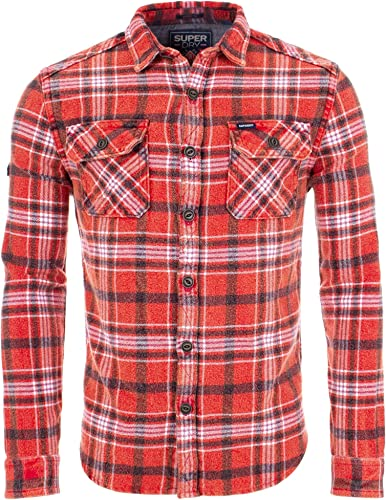 Superdry Chemise Merchant Milled Storm rouge Check