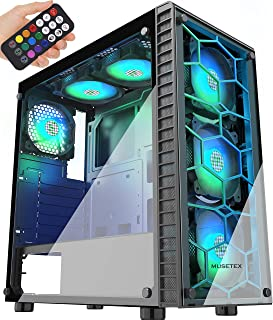 MUSETEX Phantom Black ATX Mid-Tower Case with USB 3.0 and...