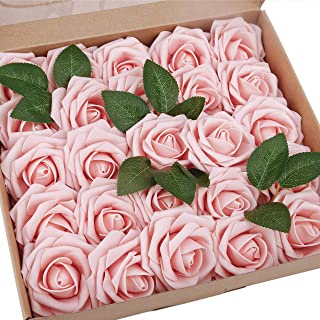 BOMAROLAN Artificial Rose Flowers Real Touch 25pcs Faux Foam Roses Fake Flower Head w/Stem, DIY Wedding Decor Bridal Bridesmaid Bouquets Centerpieces Baby Shower Party Home Decorations (Flesh Pink)