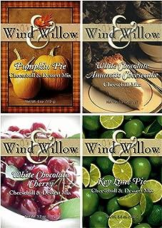 Wind & Willow Sweet Cheeseball and Dessert Mix Bundle (4 Pack): White Chocolate Amaretto Cheesecake, Key Lime Pie, White Chocolate Cherry, and Pumpkin Pie