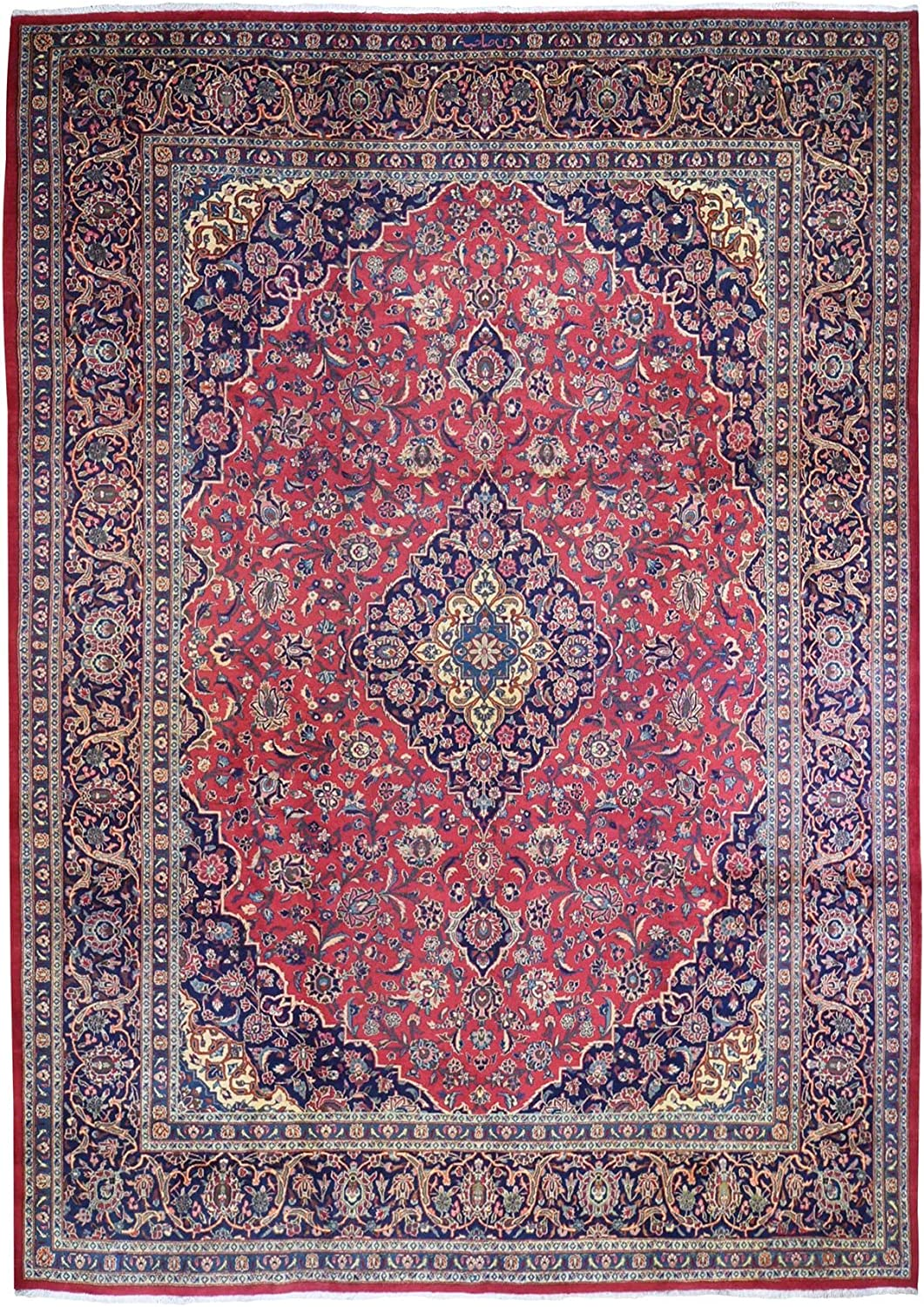 Shahbanu 100% Save money quality warranty Rugs Old Persian Kashan Thick Plush Woo Organic and Red