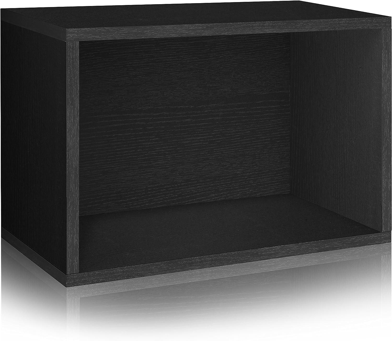 Way Basics WB-SRECT-BK Stackable Large Rectangle Shelf and Storage Organizer, Black