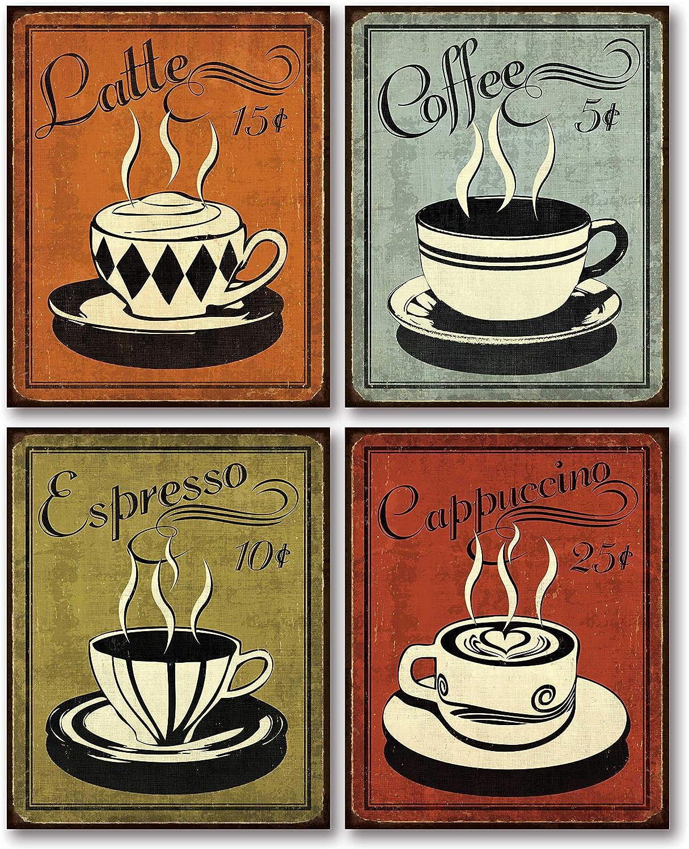 Espresso Rétro Cuisine SINGLE TOILE murale ART imprimé photo marron