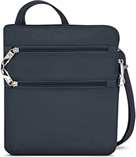 Travelon Anti-Theft Classic Slim Dbl Zip Crossbody Bag, Midnight, 9 x 10.5 x 1